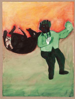 Hunderennen, Aquarell auf Papier, 1966