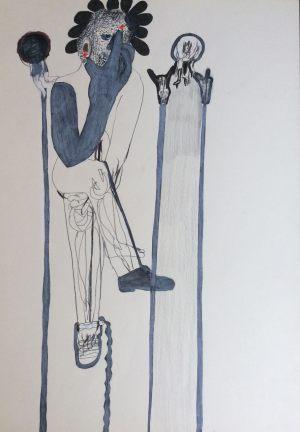 Gulliver denkt, Farbstift auf Papier, 1967