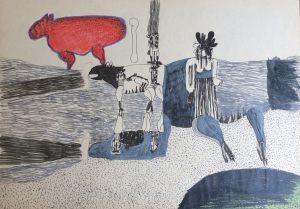 Hundeblick, Farbstift auf Papier, 1967