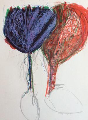 Paar im Baum, Farbstift auf Papier, 1998