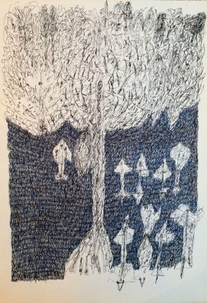 Fliegerbaum, Tusche, 1975