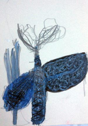 Flügel, Gouache auf Papier, 2002