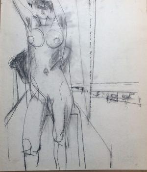 Akt,_Kohle auf Papier, 1961