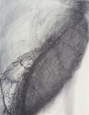 Tiefes Blatt, Kohle auf Bütten, 1987