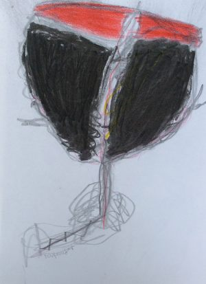 Weinengel, Kohle und Farbstift, 2012
