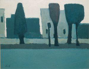 Landschaft für Carlo Carra, Oel auf Leinwand, 1961