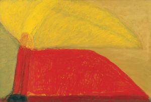 Berg mit Flügel, Pastell auf Bütten, 1989
