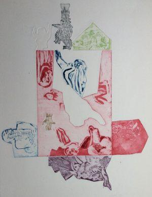 Engel, Radierung mit Relief, 1965