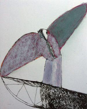 Vogelboot - Seeblick, Radierung bemalt, 1992