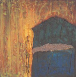 Baum - Vogel - Haus, Handsiebdruck, 1994 (Tripychon)