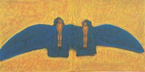Baum - Vogel - Haus, Handsiebdruck, 1994 (Triptychon)