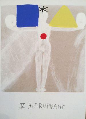 Hierophant, Tarot, Handsiebdruck auf Tarot, 1988